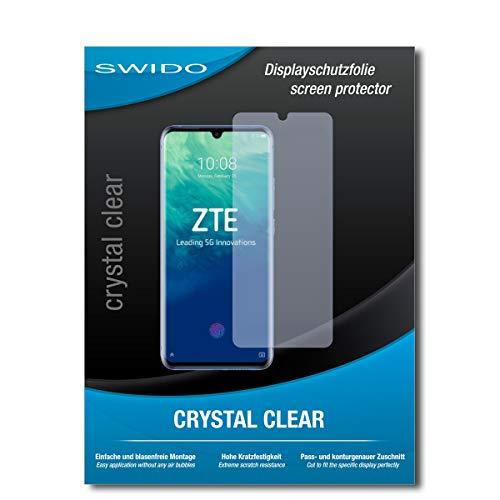 SWIDO Schutzfolie für ZTE Axon 10 Pro [2 Stück] Kristall-Klar, Hoher Festigkeitgrad, Schutz vor Öl, Staub & Kratzer/Folie, Glasfolie, Bildschirmschutz, Bildschirmschutzfolie, Panzerglas-Folie