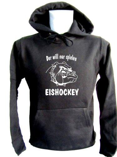 ShirtShop-Saar Der Will nur Spielen - Eishockey; Kapuzen-Pulli schwarz, Gr. M