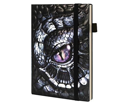 ViViSun Notizbuch A5 Liniert, Leder Vintage Tagebuch für Erwachsene, Klassisches Notizbücher für Mädchen Männer Kinder, Hardcover Notizheft Leder-3D Geprägte Notizbuch Drache/Dragon Geschenk Lesen