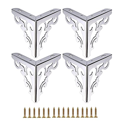 家具の脚 4個セット4インチ-8インチ金属製家具脚金属研磨シルバートライアングルソファ脚テーブルキャビネット用食器棚ソファ家具脚大規模なDIYプロジェクトに適しており、ネジとフロアプロテクターが付いています(S
