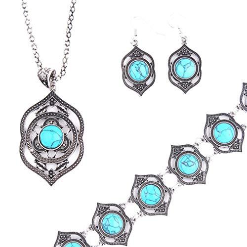 #N/A Figutsga - Juego de joyas retro con colgante de turquesa sintética, collar, pendientes, pulsera y adorno para mujer