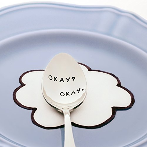 The Fault in Our Stars: Okay? Okay. - (Option to Personalize with a Name) - Stainless Steel Stamped Spoon, Stamped Silverware - Gifts for Book Lovers and Readers