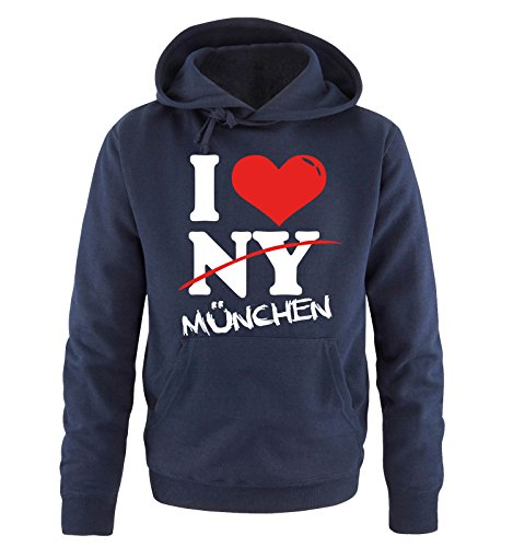 Comedy Shirts I Love MÜNCHEN - NOT NY - Herren Hoodie in Navy Gr. XL