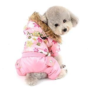 SELMAI Petit Chiens Manteaux d'hiver Floral Doux Toison éPaississent Chaud Veste Rembourré Chat Capuche Jumpsuit Imperméables Tenue Vêtements