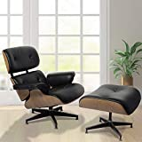 JOYBASE Recliner with Ottoman, Classic Lounge Chair, Genuine Leather Recliner, Wood Bending Plate (Black Leather & Ash)