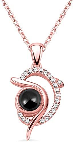 Lakabara 925 collar de plata de ley para mujer collar con nombre de delfín de proyección y te amo 100 idiomas colgante de pareja de oro rosa