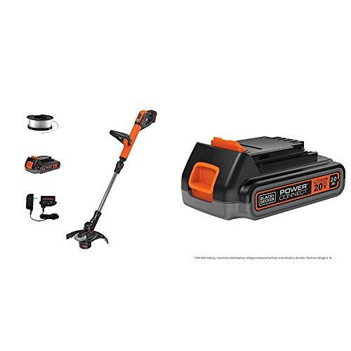 beyond by BLACK+DECKER 20V MAX String Trimmer/Edger Kit, 12-Inch with Extra 2.0 Ah Lithium Ion Battery (LST522E1AEV & LBXR2020APB)