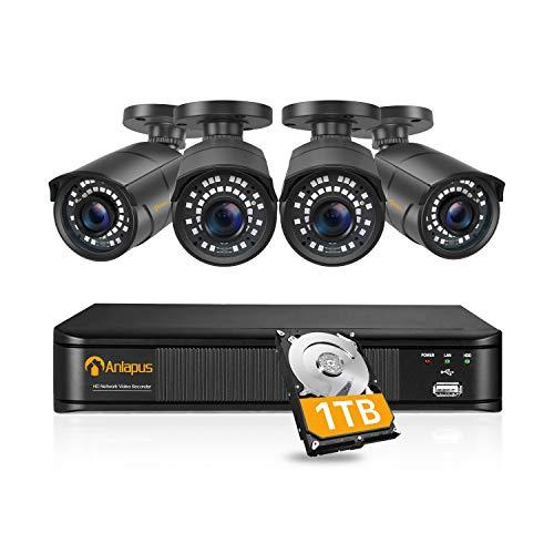 Anlapus 5MP H.265+ PoE Kit Cámaras de Vigilancia Exterior 8CH Videograbador NVR PoE con 4pcs Cámaras de Seguridad 1TB HDD, Visión Nocturna, Alarma Email, P2P