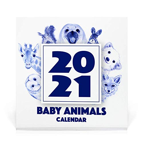 2021 Baby Animal Watercolor Desk Calendar, Christmas Gift, Decoration and Stocking Stuffer, Cute Animal Art Print for Child's Room Decorating C15
