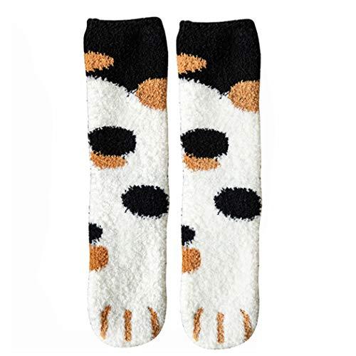 Zaloife Damen Socken, Warme Wintersocken Mädchen, Damensocken 36-39,Flauschige Damensocken Motiv, Süsse Warm Socks mit Katzenpfoten-Print, Geschenke für Beste Fre&in, Mama, Oma