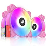 Asiahorse Magic-c Argb Case Fans with Transparent Light Frame Design,120mm Quiet Computer Cooling PC Fans, 5V ARGB Motherboard SYNC/RC Controller with Hub (3pack Pink)