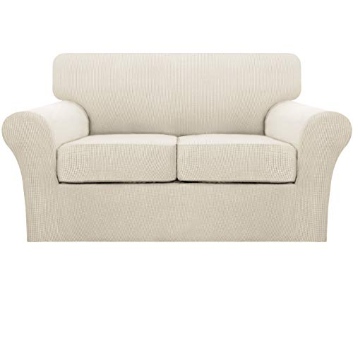 Turquoize 3 Piece Stretch Loveseat Covers for 2 Cushion Couch Covers for Living Room Loveseat Slipcovers (1 Base Cover Plus 2 Individual Seat Cushion Covers) Thick Soft Fabric,Biscotti Beige