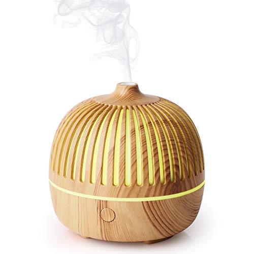 WD&CD Aroma Diffuser Luftbefeuchter 180ml, Ultraschall Vernebler Duftlampe Öle Diffusor mit 7 Farben LED Wasserlose Abschaltautomatik - Leichte Holzmaserung