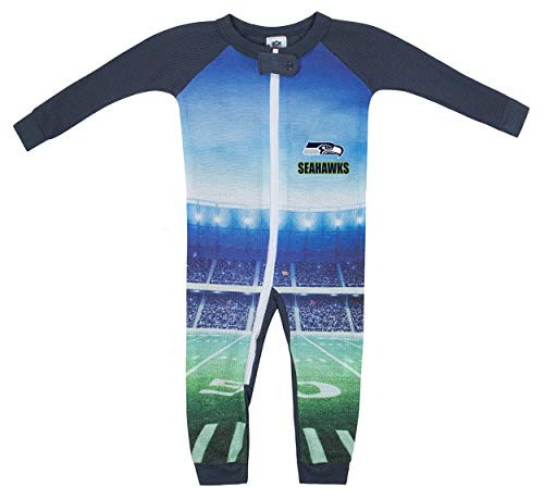 NFL Seattle Seahawks Unisex-Baby Thermal Unionsuit, Gray, 6 Months