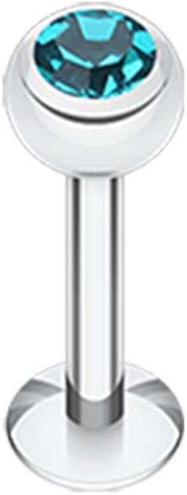 Covet Jewelry Basic Steel Gem Ball Labret