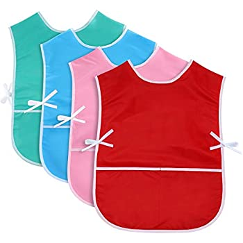 4 Pieces Art Smock for Kids Artist Smock Waterproof Painting Apron Painting Smocks for Children 4 Colors  Green Red Blue Pink