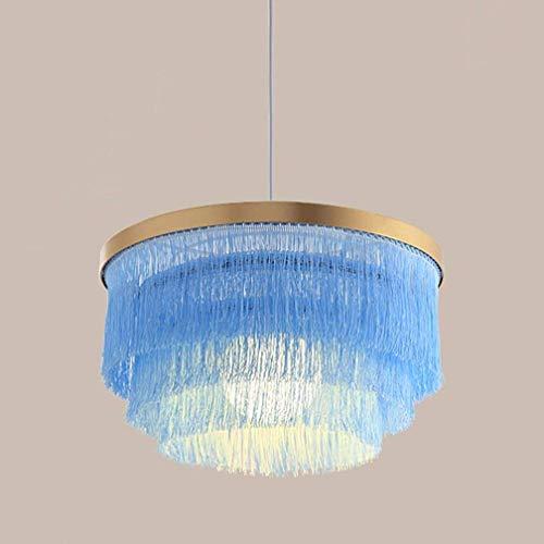 WYZXR - Lámpara de techo con borlas LED, colgante, decorativa, estilo nórdico, romántico, gris, azul, rosa y blanco, creativa, lámpara de techo (color: azul)
