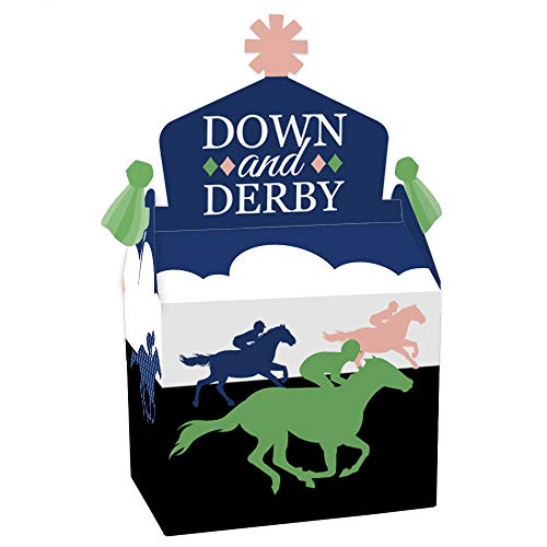 Big Dot of Happiness Kentucky Horse Derby - Treat Box Party Favors - Horse Race Party Goodie Gable Boxes - Set of 12