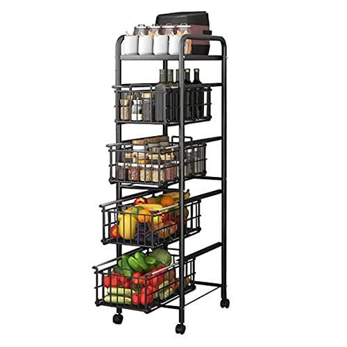 Estante de almacenamiento de 5 niveles, diseño de cajón de microondas, cesta deslizante para cocina, baño, sala de estar, organizador de especias