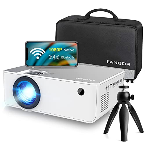 "1080P HD Projector, WiFi Projector Bluetooth Projector, FANGOR 230"" Portable Movie Projector with Tripod, Home Theater Video Projector Compatible with TV Stick, HDMI, VGA, USB, Laptop, iOS & Android"
