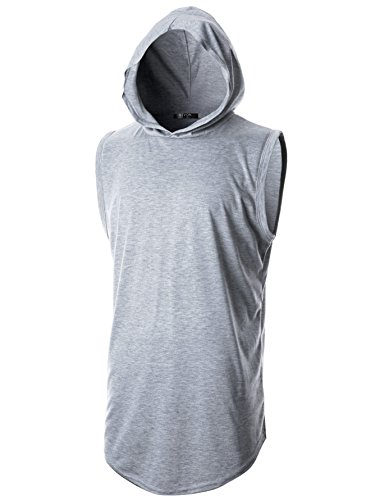 GIVON Los Hombres De Hipster Simple Palangre De Peso Ligero Suéter De Manga Larga Camisa Con Capucha Gris Dcf025-Xx-Large