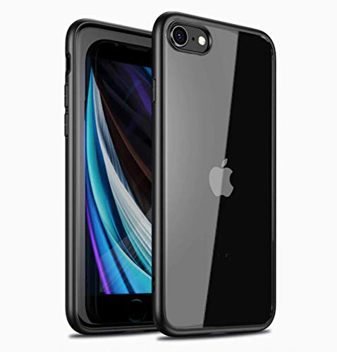 bounceback transparent clear shock proof back cover case for apple iphone se 2020 / iphone 7 / iphone 8 - charcoal black - Black; Transparent