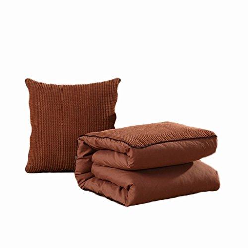 CGN ソリッドカラーピローキルトデュアルユースポータブルアウトドアカーフォールドクッションソファクッションホームオフィスは、腰部のベッドを保護しますバックレスト 柔らかく快適 ( 色 : ブラウン ぶらうん , サイズ さいず : 110*150CM )