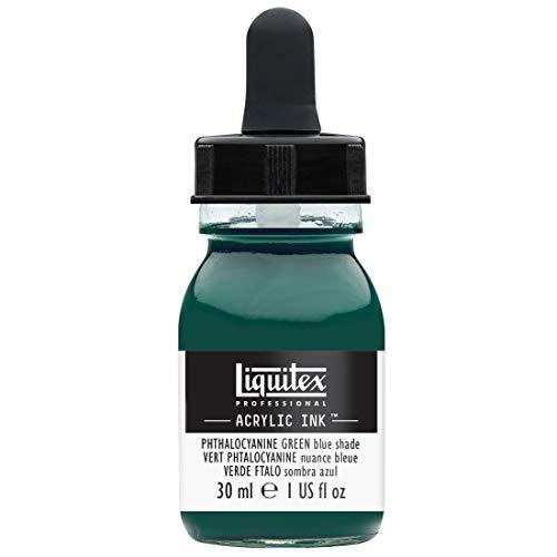 Liquitex 4260317 flüssige Professional Acrylfarben - Ink, Tusche, 30 ml, hochpigmentierte Airbrushfarbe, phthalozyaningrün blauton