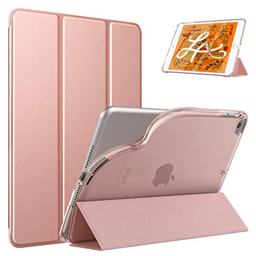 Dadanism New iPad Mini 5 Case, iPad Mini 2019 Case 5th Generation, iPad Mini 4 Case, [Flexible TPU Translucent Back Shell] Ultra Slim Lightweight Trifold Stand Cover with Auto Sleep/Wake - Rose Gold