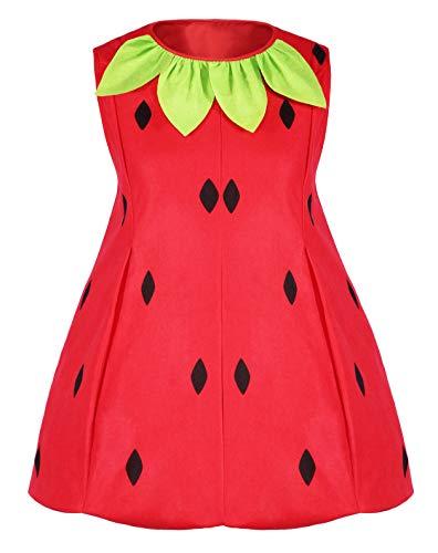 Seawhisper Erdbeer Kostüm Übergröße Faschingskostüme Damen Große Größen Obst Fruchtige Verkleidung Karneval Halloween Kostüm 32 34 36