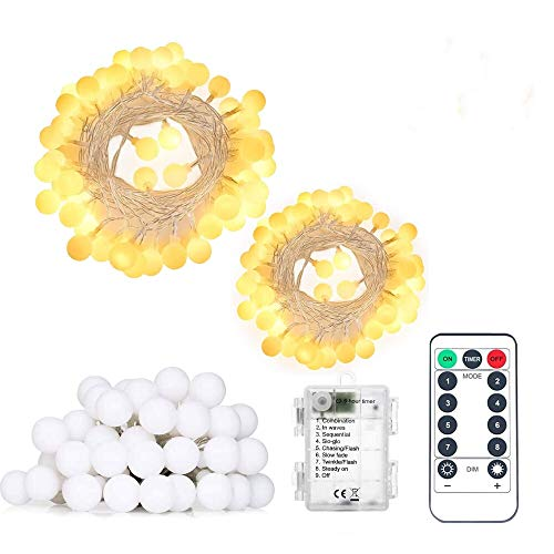 Battery Operated String Lights Correare 2 Pack 50 LED 196Ft Globe Outdoor String Lights with 8 Lighting Modes and Remote for Bedroom Patio Party Wedding Christmas Holiday Decoration Lights