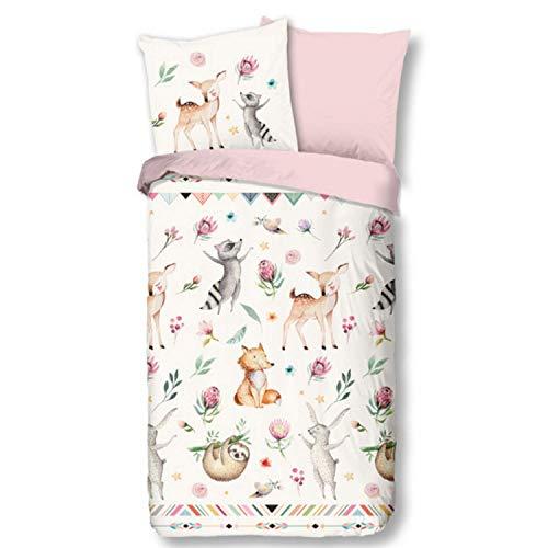 Aminata Kids Bettwäsche Tiere Tier-Motiv 135x200 Kinder Cartoon-Style Mädchen - rosa - Reißverschluss - süße Wende-Kinder-Bettwäsche Set Waschbär, REH-Kitz & Fuchs