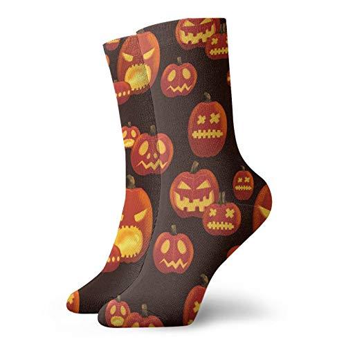 Patrón de Halloween Con Scary Calabazas Calcetines antideslizantes zapatillas calcetines suaves antideslizantes térmicos calcetines otoño e invierno cómodos calcetines 30cm