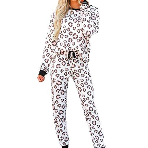 STRIR Pijama para Mujer - Pijama Camiseta y Pantalones Mujer - Ropa de Dormir para Mujer- Conjunto de Pijama de Leopardo de Manga Larga (XXL, Negro)