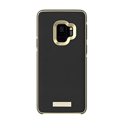 kate spade new york Wrap Case for Samsung Galaxy S9 - Black Saffiano Black / Gold Logo Plate