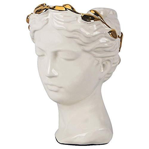 WEIZI Jardinera de Estilo Griego Escultura Griega clásica con Cabeza Femenina jarrón de cerámica Estatua de Resina para decoración del jardín del hogar lechoso 17x17x24cm (7x7x9 Pulgadas)