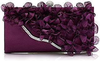 iBag's Lady Satin Clutch Bag Flower Evening Party Wedding Purse Chain Shoulder Handbag