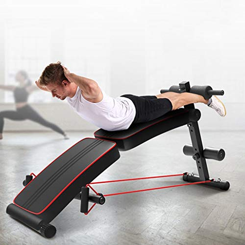 Johuka Adjustable Sit-up Bench, Foldable Decline Workout Bench for Home Strength Training Sport Exercise Work Out Benches (Black, from U.S. Stock)