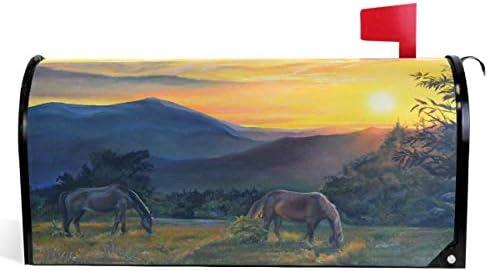 Zonsondergang Paarden Mountain Landschap Mailbox Covers Magnetische Tuin Yard Home Decor Standaard Maat 21 x 18