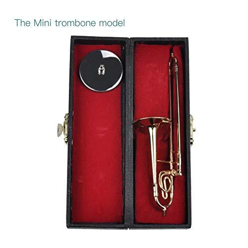 Mini Posaune Mit Standfuß Musikinstrumente Feine Vergoldete Handwerk Miniatur Posaune Dekoration Ornament