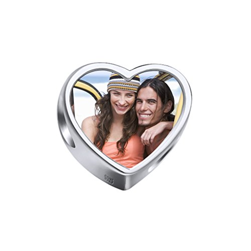 MoonLove Personalisierte Herz Anhänger mit Foto personalisierbar Fotogravur Fotoanhänger 925 Sterling Silber für Halskette und Armband Geschenk Schmuck