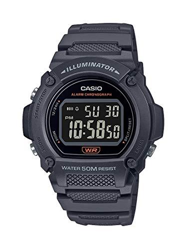 Casio Quartz Fitness Watch with Resin Strap, Gray, 25.5 (Model: W-219H-8BVCF)