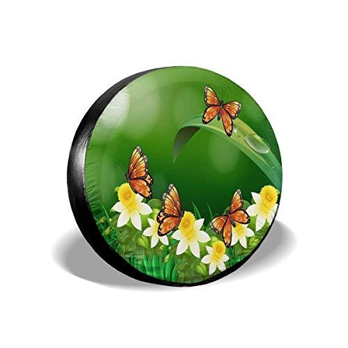 Lewiuzr Mariposas Volando Ensenada de neumático de repuestor Protector Solar de poliéster Cubiertas de Rueda Impermeables Ajuste Universal