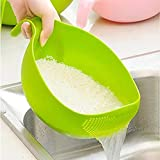 Atman Plastic Rice Fruits Vegetable Noodles Pasta Washing Bowl and Strainer for Storing and Straining (Multi Colour)