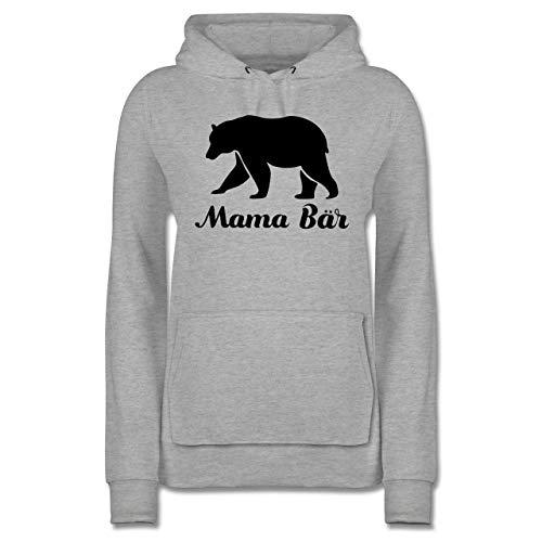 Muttertagsgeschenk - Mama Bär - XS - Grau meliert - Hoodie Mama bär - JH001F - Damen Hoodie und Kapuzenpullover für Frauen