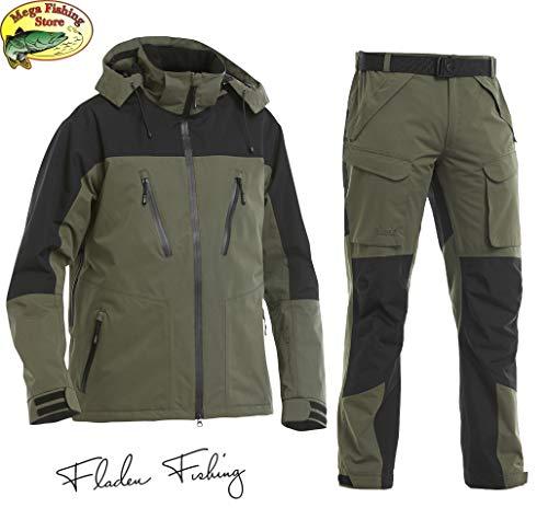 Fladen Fishing Authentic 2.0 Outdoor & Angel Anzug - Grün-Schwarz - Jacke + Hose Atmungsaktiv Wasserdicht 10.000mm - Angelanzug Gr. S - XXL (M)