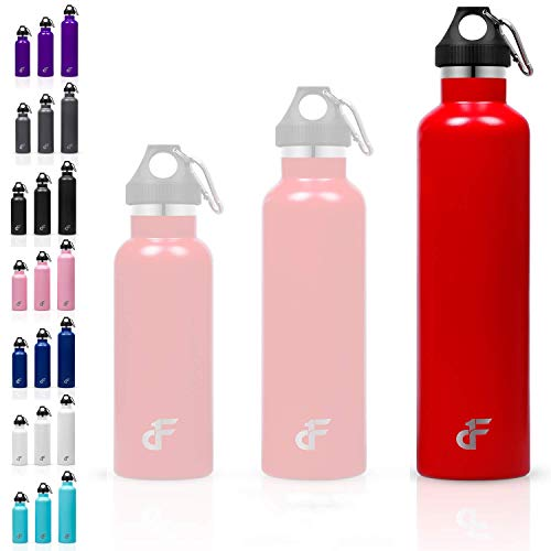Day 1 Fitness 24 oz. Double Wall SS Standard Mouth Water Bottle Red