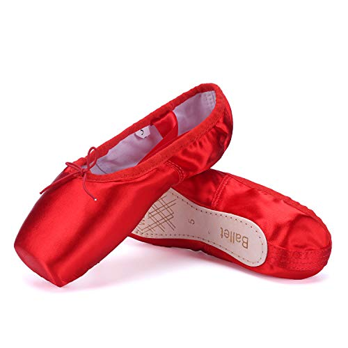 WENDYWU Girls Womens Dance Shoe Pink Ballet Pointe Slippers Ballet Flats Shoes with Ribbons Toe Pads Black Pink Red (Red, 8)