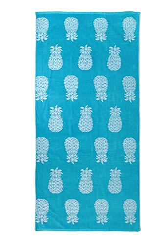 jilda-tex Strandtuch 90x180 cm Badetuch Strandlaken Handtuch 100% Baumwolle Velours Frottier Pflegeleicht (Pineapple Allover Türkis)