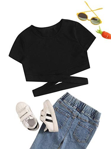 Romwe Girl's Cute Cutout Short Sleeve Crisscross Solid Cotton Crop Tops Tee T-Shirts Black 10Y